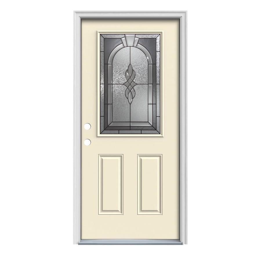 JELD-WEN Hampton Decorative Glass Right-Hand Inswing Bisque Steel Painted Entry Door (Common: 32-in x 80-in; Actual: 33.5-in x 81.75-in)
