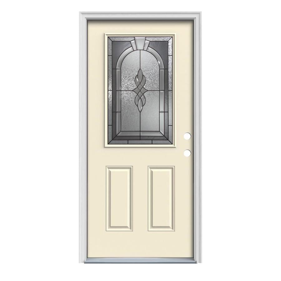 Shop jeld wen hampton decorative glass left hand inswing for Decorative glass for entry doors