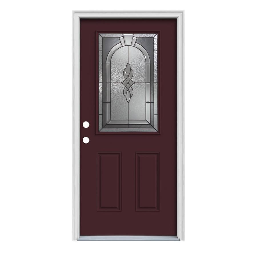 JELD-WEN Hampton 2-Panel Insulating Core Half Lite Right-Hand Inswing Currant Steel Painted Prehung Entry Door (Common: 32-in x 80-in; Actual: 33.5-in x 81.75-in)