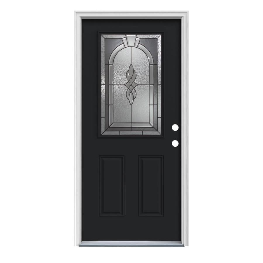 JELD-WEN Hampton Decorative Glass Left-Hand Inswing Peppercorn Steel Painted Entry Door (Common: 32-in x 80-in; Actual: 33.5-in x 81.75-in)