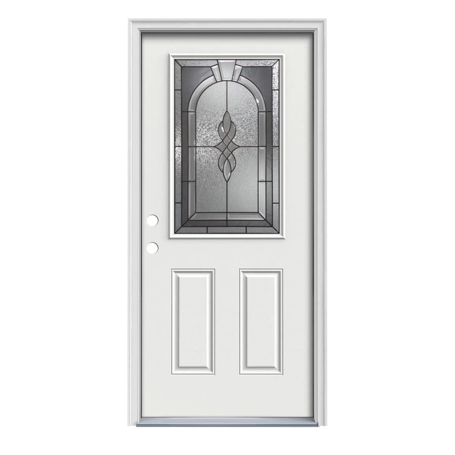 JELD-WEN Hampton Decorative Glass Right-Hand Inswing Arctic White Painted Steel Prehung Entry Door with Insulating Core (Common: 36-in x 80-in; Actual: 37.5000-in x 81.7500-in)