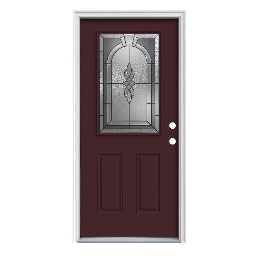 JELD-WEN Hampton Decorative Glass Left-Hand Inswing Currant Steel Painted Entry Door (Common: 36-in x 80-in; Actual: 37.5-in x 81.75-in)