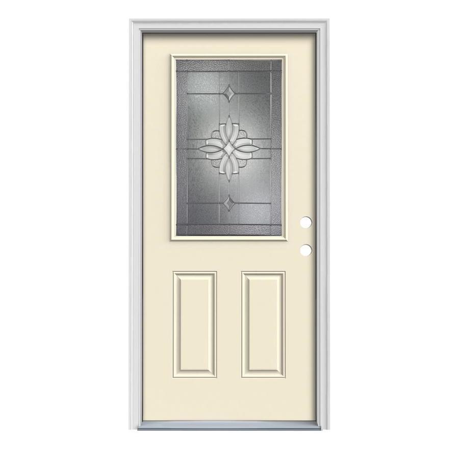 JELD-WEN Laurel 2-Panel Insulating Core Half Lite Left-Hand Inswing Bisque Steel Painted Prehung Entry Door (Common: 32-in x 80-in; Actual: 33.5-in x 81.75-in)