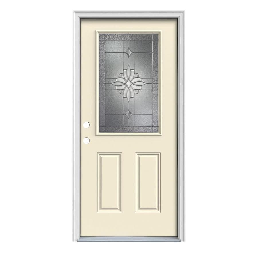 JELD-WEN Laurel Decorative Glass Right-Hand Inswing Bisque Painted Steel Prehung Entry Door with Insulating Core (Common: 32-in x 80-in; Actual: 33.5-in x 81.75-in)
