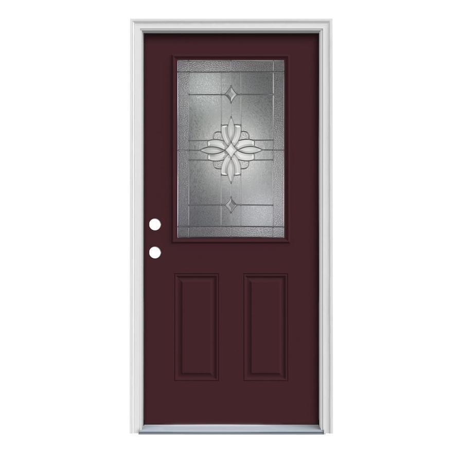 JELD-WEN Laurel 2-Panel Insulating Core Half Lite Right-Hand Inswing Currant Steel Painted Prehung Entry Door (Common: 32-in x 80-in; Actual: 33.5-in x 81.75-in)