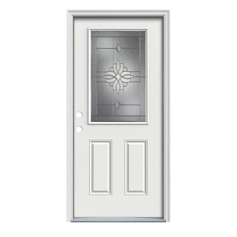 JELD-WEN Laurel Decorative Glass Right-Hand Inswing Arctic White Painted Steel Prehung Entry Door with Insulating Core (Common: 36-in x 80-in; Actual: 37.5-in x 81.75-in)