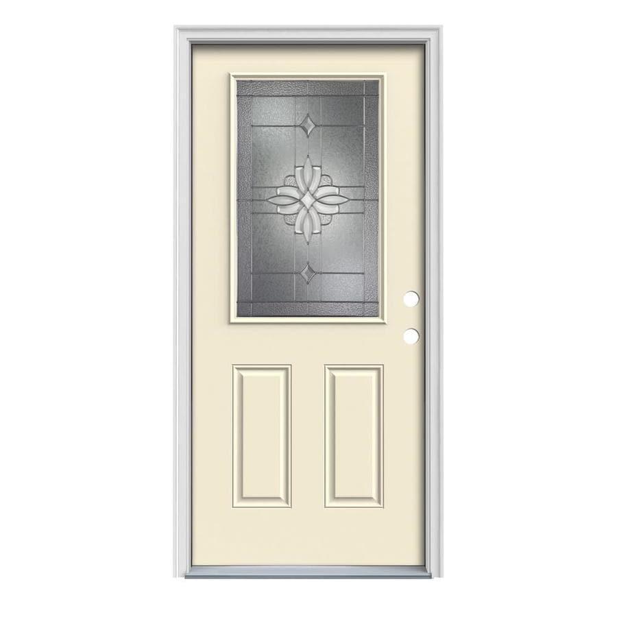 JELD-WEN Laurel 2-Panel Insulating Core Half Lite Left-Hand Inswing Bisque Steel Painted Prehung Entry Door (Common: 36-in x 80-in; Actual: 37.5-in x 81.75-in)