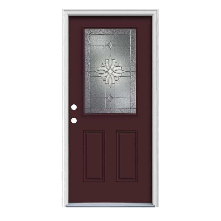 JELD-WEN Laurel 2-Panel Insulating Core Half Lite Right-Hand Inswing Currant Steel Painted Prehung Entry Door (Common: 36-in x 80-in; Actual: 37.5-in x 81.75-in)