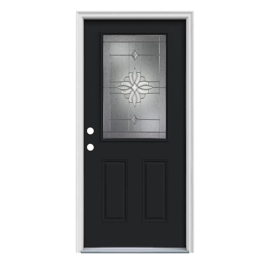 JELD-WEN Laurel 2-Panel Insulating Core Half Lite Right-Hand Inswing Peppercorn Steel Painted Prehung Entry Door (Common: 36-in x 80-in; Actual: 37.5-in x 81.75-in)