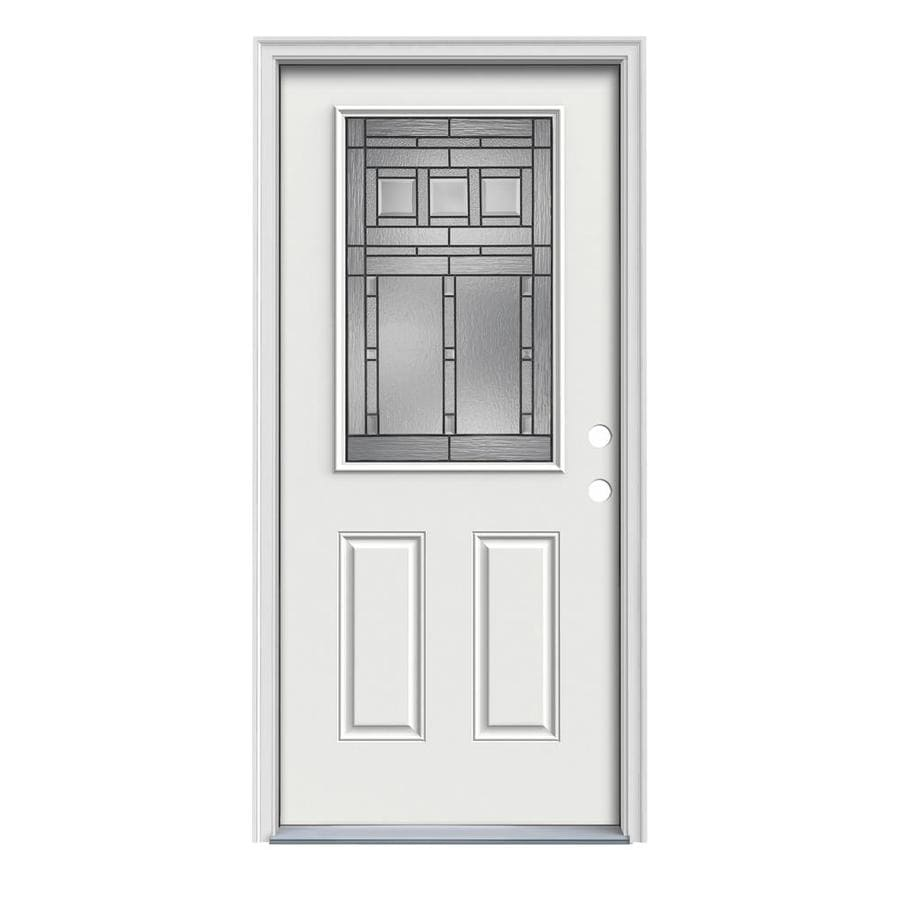 JELD-WEN Craftsman Decorative Glass Left-Hand Inswing Arctic White Painted Steel Prehung Entry Door with Insulating Core (Common: 32-in x 80-in; Actual: 33.5-in x 81.75-in)