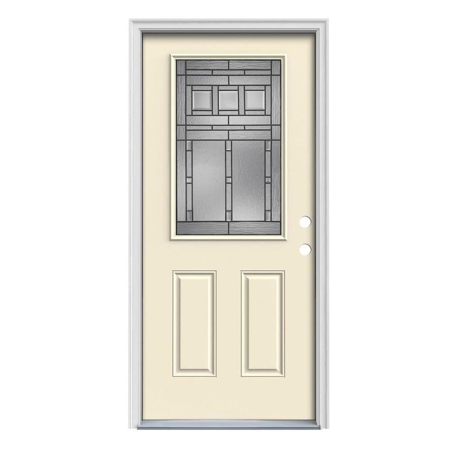 JELD-WEN Craftsman Decorative Glass Left-Hand Inswing Bisque Steel Painted Entry Door (Common: 32-in x 80-in; Actual: 33.5-in x 81.75-in)