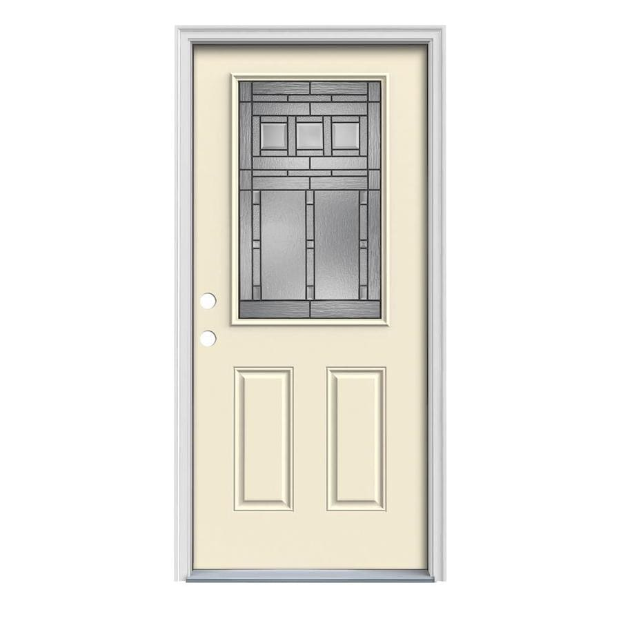 Ordinaire JELD WEN Craftsman Half Lite Decorative Glass Right Hand Inswing Bisque  Painted Steel Prehung