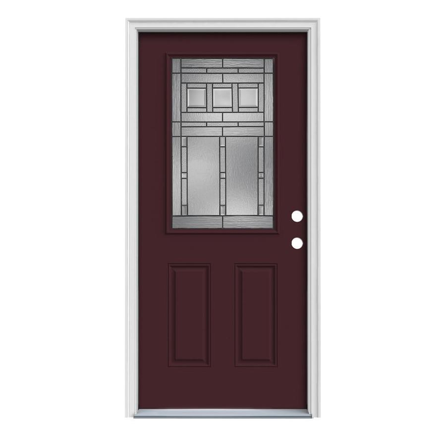 JELD-WEN Craftsman Glass 2-Panel Insulating Core Half Lite Left-Hand Inswing Currant Steel Painted Prehung Entry Door (Common: 32-in x 80-in; Actual: 33.5-in x 81.75-in)
