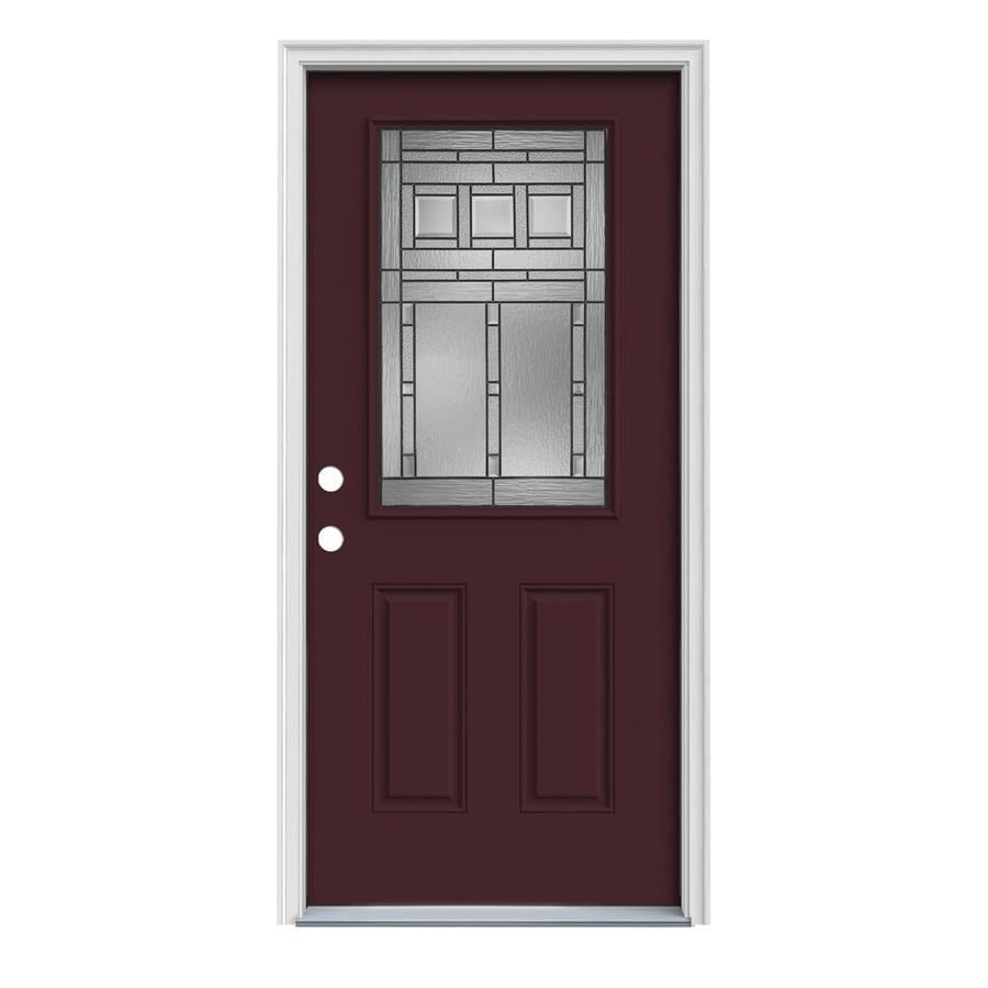 JELD-WEN Craftsman Glass 2-Panel Insulating Core Half Lite Right-Hand Inswing Currant Steel Painted Prehung Entry Door (Common: 32-in x 80-in; Actual: 33.5-in x 81.75-in)