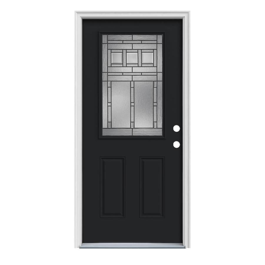 JELD-WEN Craftsman Decorative Glass Left-Hand Inswing Peppercorn Steel Painted Entry Door (Common: 32-in x 80-in; Actual: 33.5-in x 81.75-in)