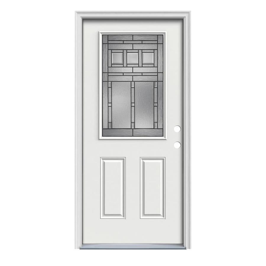 JELD-WEN Craftsman Glass 2-Panel Insulating Core Half Lite Left-Hand Inswing Arctic White Steel Painted Prehung Entry Door (Common: 36-in x 80-in; Actual: 37.5-in x 81.75-in)