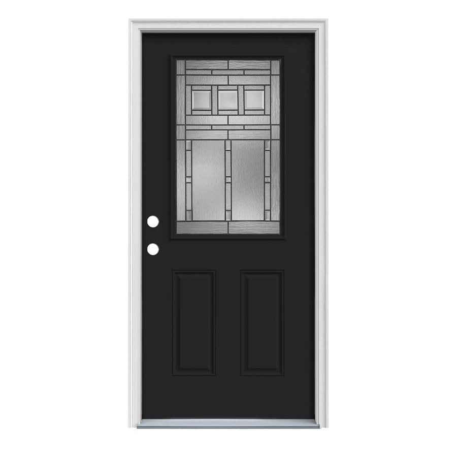 JELD-WEN Craftsman Decorative Glass Right-Hand Inswing Peppercorn Painted Steel Prehung Entry Door with Insulating Core (Common: 36-in x 80-in; Actual: 37.5-in x 81.75-in)