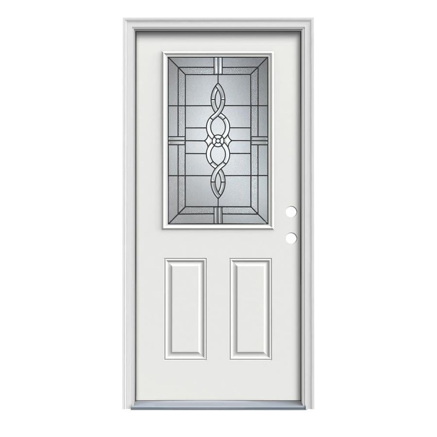 JELD-WEN Calista Decorative Glass Left-Hand Inswing Arctic White Painted Steel Prehung Entry Door with Insulating Core (Common: 32-in x 80-in; Actual: 33.5-in x 81.75-in)