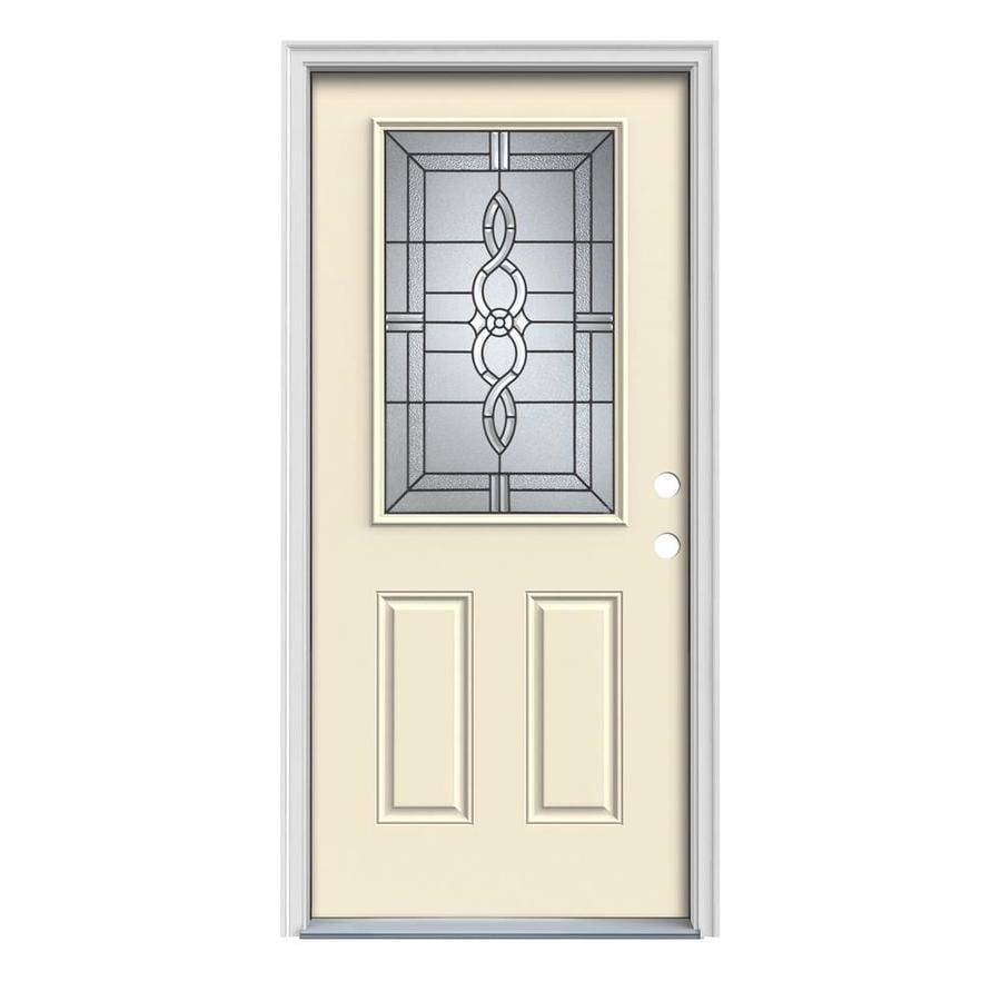 JELD-WEN Calista 2-Panel Insulating Core Half Lite Left-Hand Inswing Bisque Steel Painted Prehung Entry Door (Common: 36-in x 80-in; Actual: 37.5-in x 81.75-in)