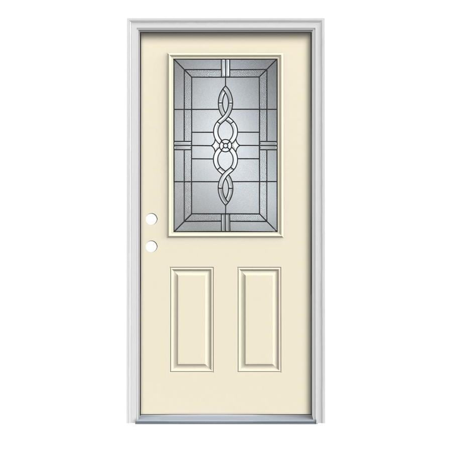 JELD-WEN Calista Decorative Glass Right-Hand Inswing Bisque Painted Steel Prehung Entry Door with Insulating Core (Common: 36-in x 80-in; Actual: 37.5-in x 81.75-in)
