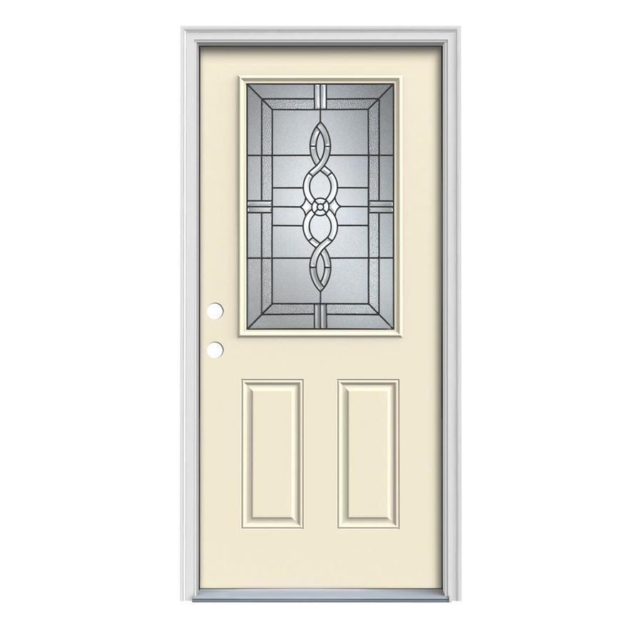 JELD-WEN Calista 2-Panel Insulating Core Half Lite Right-Hand Inswing Bisque Steel Painted Prehung Entry Door (Common: 36-in x 80-in; Actual: 37.5-in x 81.75-in)