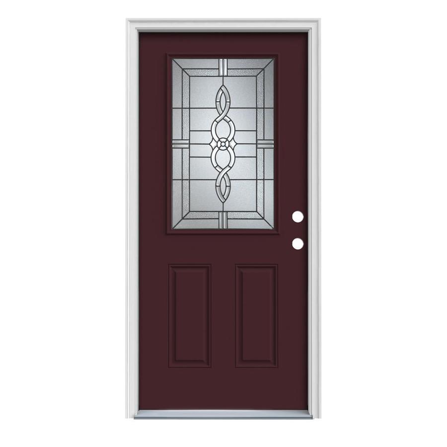 JELD-WEN Calista 2-Panel Insulating Core Half Lite Left-Hand Inswing Currant Steel Painted Prehung Entry Door (Common: 36-in x 80-in; Actual: 37.5-in x 81.75-in)