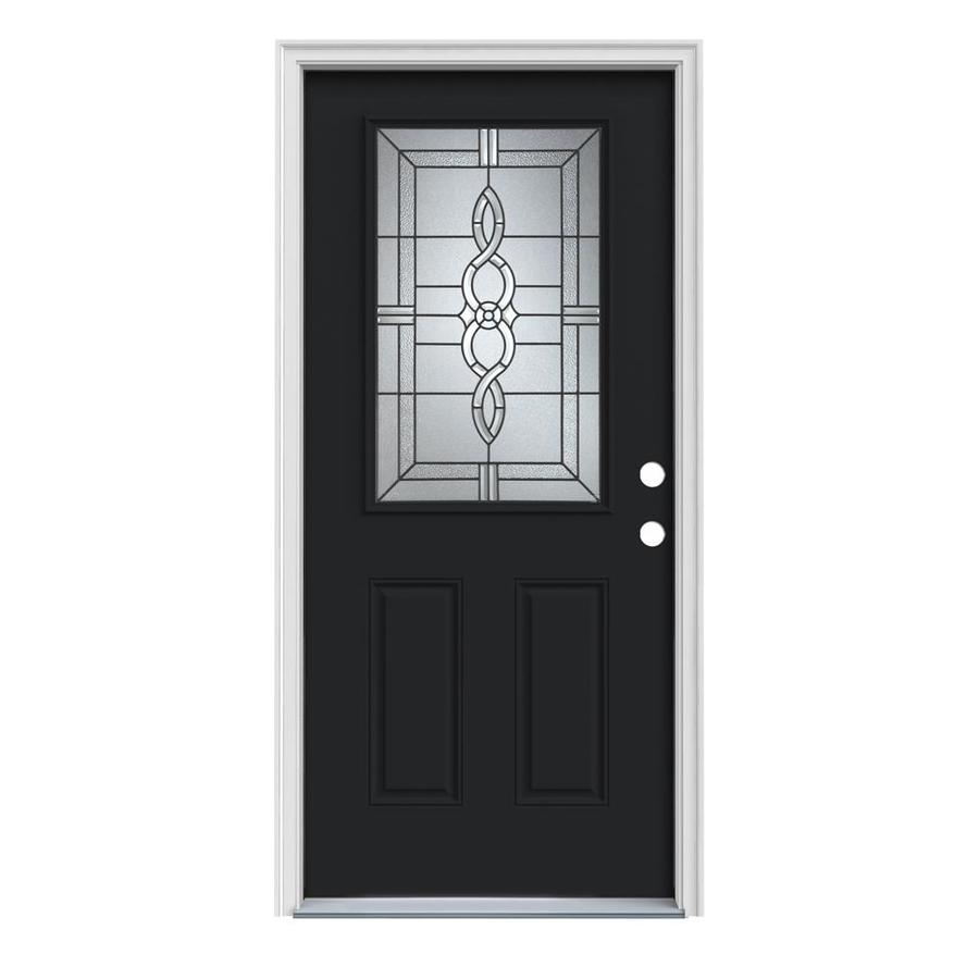 JELD-WEN Calista 2-Panel Insulating Core Half Lite Left-Hand Inswing Peppercorn Steel Painted Prehung Entry Door (Common: 36-in x 80-in; Actual: 37.5-in x 81.75-in)