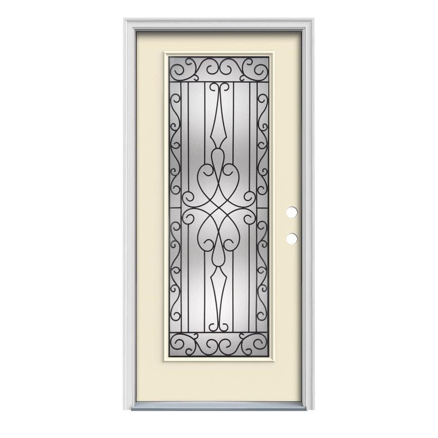 JELD-WEN Wyngate Decorative Glass Left-Hand Inswing Bisque Painted Steel Prehung Entry Door with Insulating Core (Common: 32-in x 80-in; Actual: 33.5-in x 81.75-in)