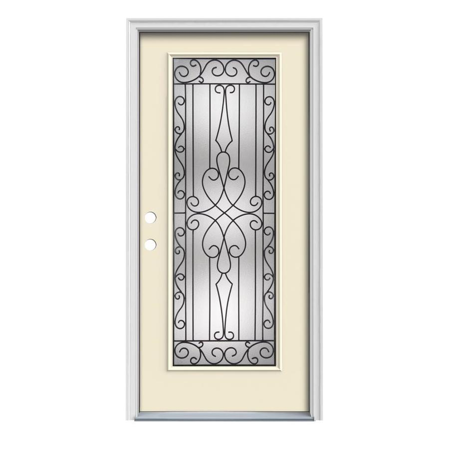 JELD-WEN Wyngate 1-Panel Insulating Core Full Lite Right-Hand Inswing Bisque Steel Painted Prehung Entry Door (Common: 32-in x 80-in; Actual: 33.5-in x 81.75-in)