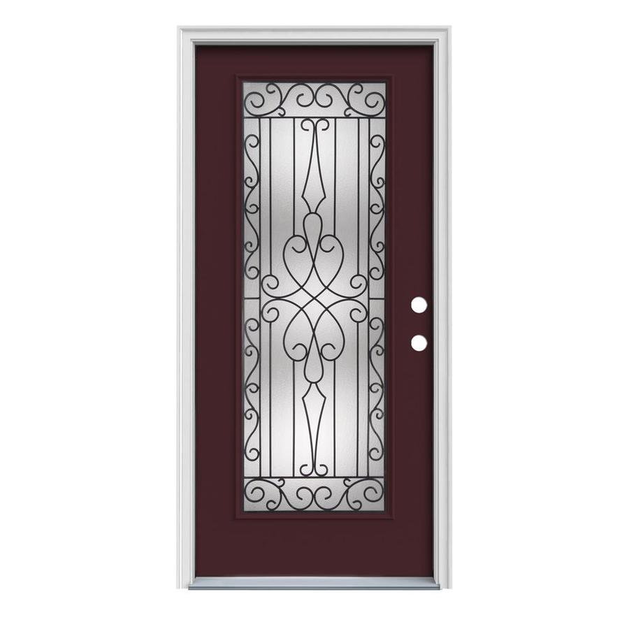 JELD-WEN Wyngate Decorative Glass Left-Hand Inswing Currant Painted Steel Prehung Entry Door with Insulating Core (Common: 32-in x 80-in; Actual: 33.5-in x 81.75-in)