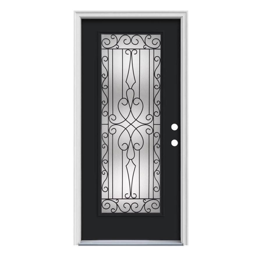 JELD-WEN Wyngate Decorative Glass Left-Hand Inswing Peppercorn Painted Steel Prehung Entry Door with Insulating Core (Common: 32-in x 80-in; Actual: 33.5000-in x 81.7500-in)