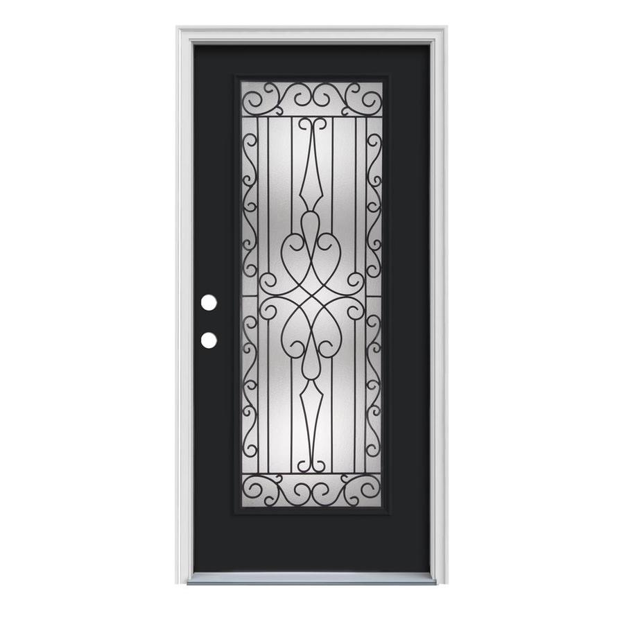 JELD-WEN Wyngate Decorative Glass Right-Hand Inswing Peppercorn Steel Painted Entry Door (Common: 32-in x 80-in; Actual: 33.5-in x 81.75-in)