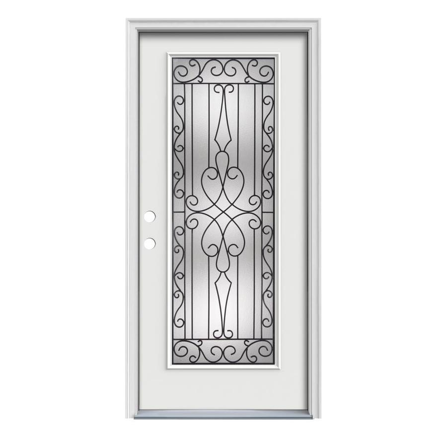 JELD-WEN Wyngate Decorative Glass Right-Hand Inswing Arctic White Steel Painted Entry Door (Common: 36-in x 80-in; Actual: 37.5-in x 81.75-in)