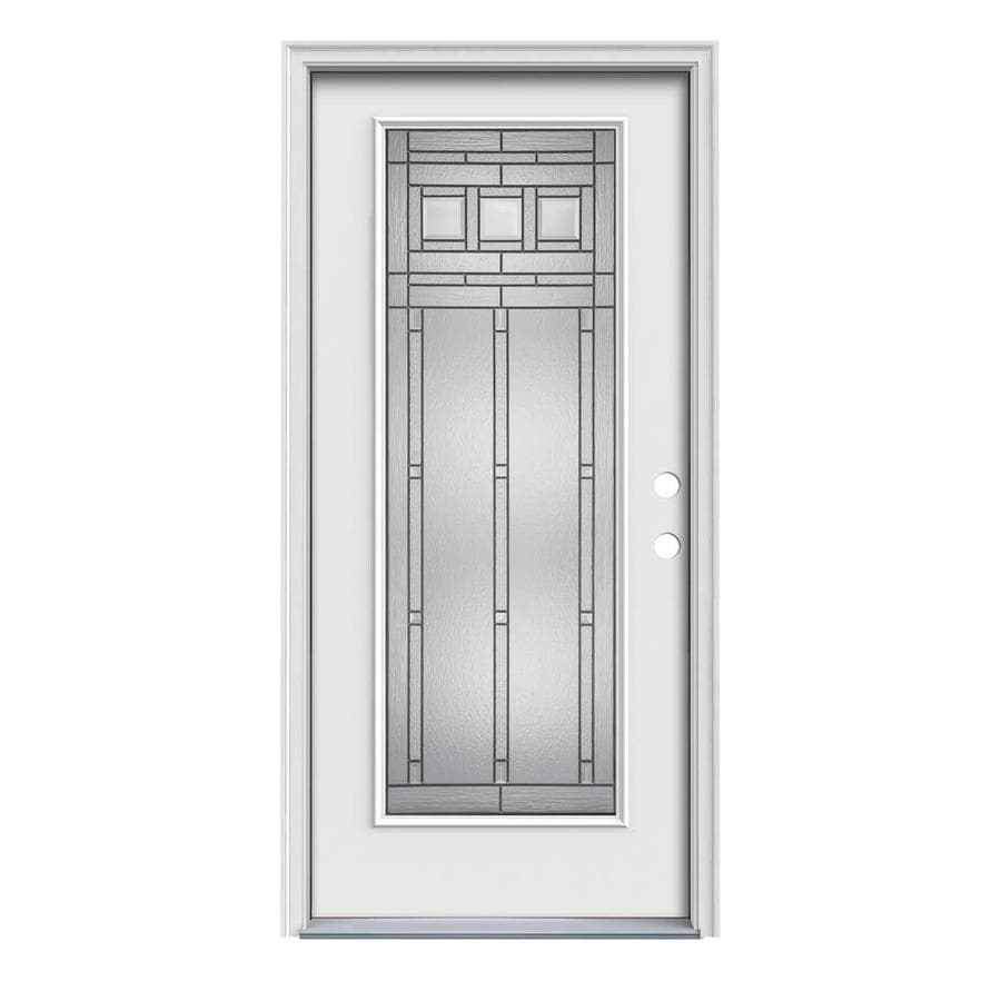 JELD-WEN Craftsman Decorative Glass Left-Hand Inswing Arctic White Painted Steel Prehung Entry Door with Insulating Core (Common: 32-in x 80-in; Actual: 33.5000-in x 81.7500-in)