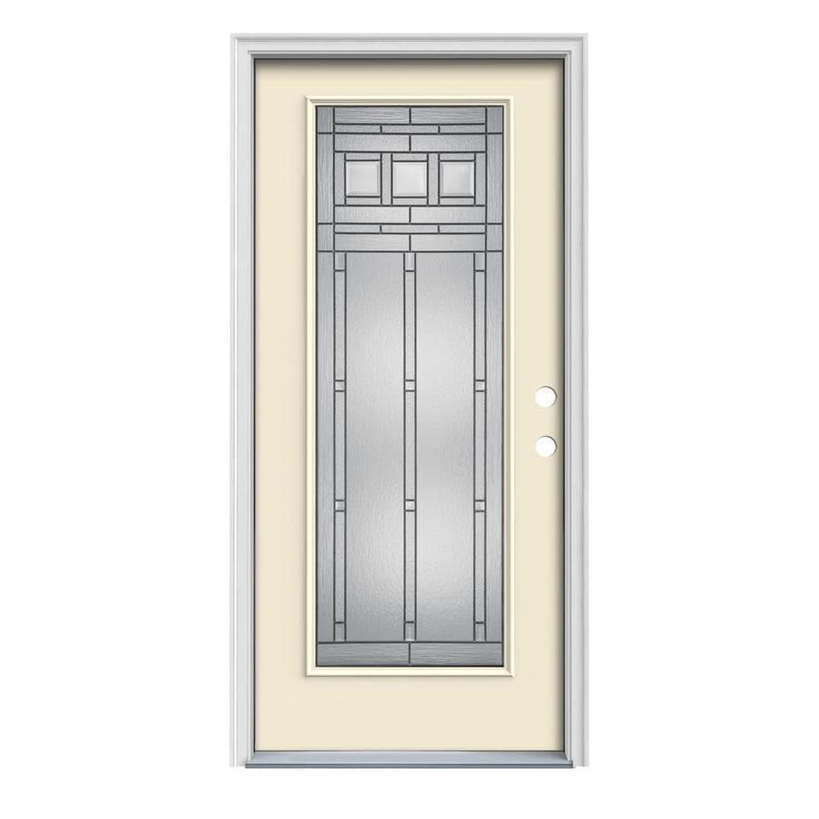 JELD-WEN Craftsman Glass 1-Panel Insulating Core Full Lite Left-Hand Inswing Bisque Steel Painted Prehung Entry Door (Common: 32-in x 80-in; Actual: 33.5-in x 81.75-in)
