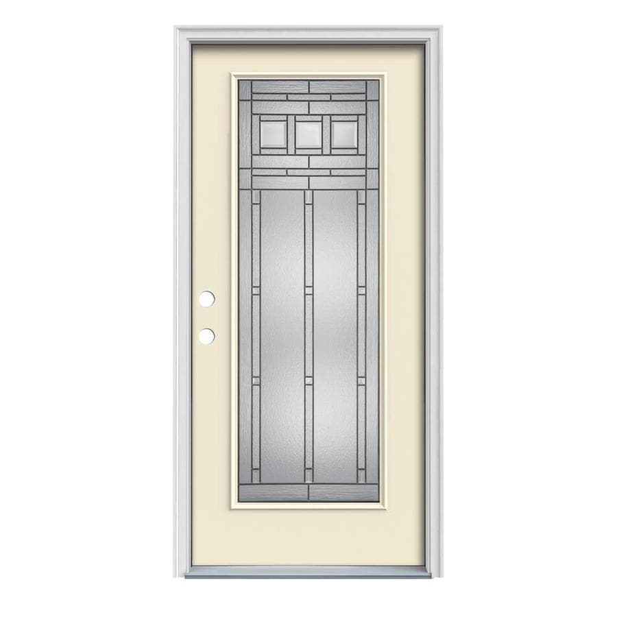 JELD-WEN Craftsman Glass 1-Panel Insulating Core Full Lite Right-Hand Inswing Bisque Steel Painted Prehung Entry Door (Common: 32-in x 80-in; Actual: 33.5-in x 81.75-in)