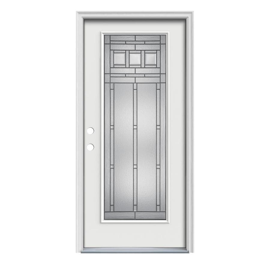 JELD-WEN Craftsman Decorative Glass Right-Hand Inswing Arctic White Painted Steel Prehung Entry Door with Insulating Core (Common: 36-in x 80-in; Actual: 37.5000-in x 81.7500-in)