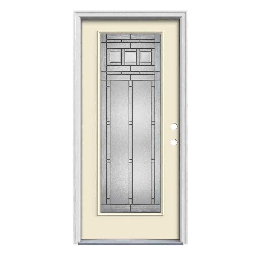 JELD-WEN Craftsman Glass 1-Panel Insulating Core Full Lite Left-Hand Inswing Bisque Steel Painted Prehung Entry Door (Common: 36-in x 80-in; Actual: 37.5-in x 81.75-in)