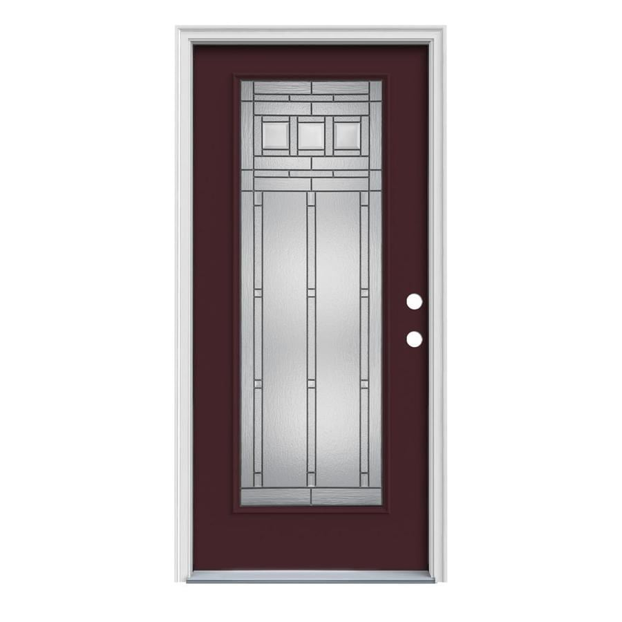 JELD-WEN Craftsman Glass 1-Panel Insulating Core Full Lite Left-Hand Inswing Currant Steel Painted Prehung Entry Door (Common: 36-in x 80-in; Actual: 37.5-in x 81.75-in)