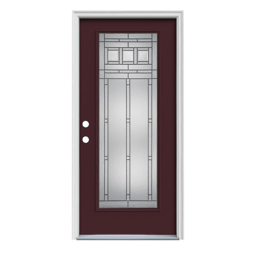JELD-WEN Craftsman Glass 1-Panel Insulating Core Full Lite Right-Hand Inswing Currant Steel Painted Prehung Entry Door (Common: 36-in x 80-in; Actual: 37.5-in x 81.75-in)