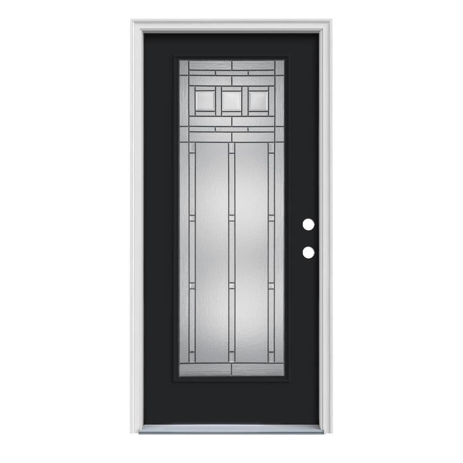 JELD-WEN Craftsman Decorative Glass Left-Hand Inswing Peppercorn Painted Steel Prehung Entry Door with Insulating Core (Common: 36-in x 80-in; Actual: 37.5000-in x 81.7500-in)