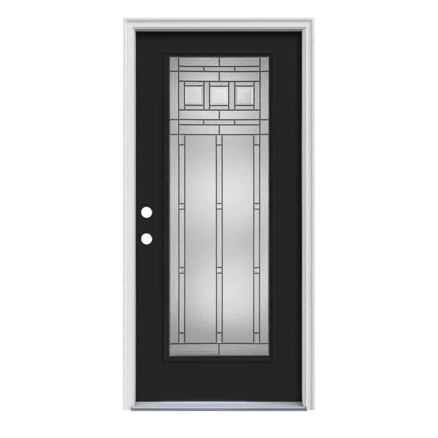 JELD-WEN Craftsman Decorative Glass Right-Hand Inswing Peppercorn Steel Painted Entry Door (Common: 36-in x 80-in; Actual: 37.5-in x 81.75-in)