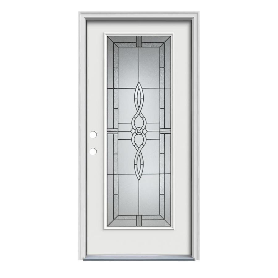 JELD-WEN Calista Decorative Glass Right-Hand Inswing Arctic White Painted Steel Prehung Entry Door with Insulating Core (Common: 32-in x 80-in; Actual: 33.5000-in x 81.7500-in)