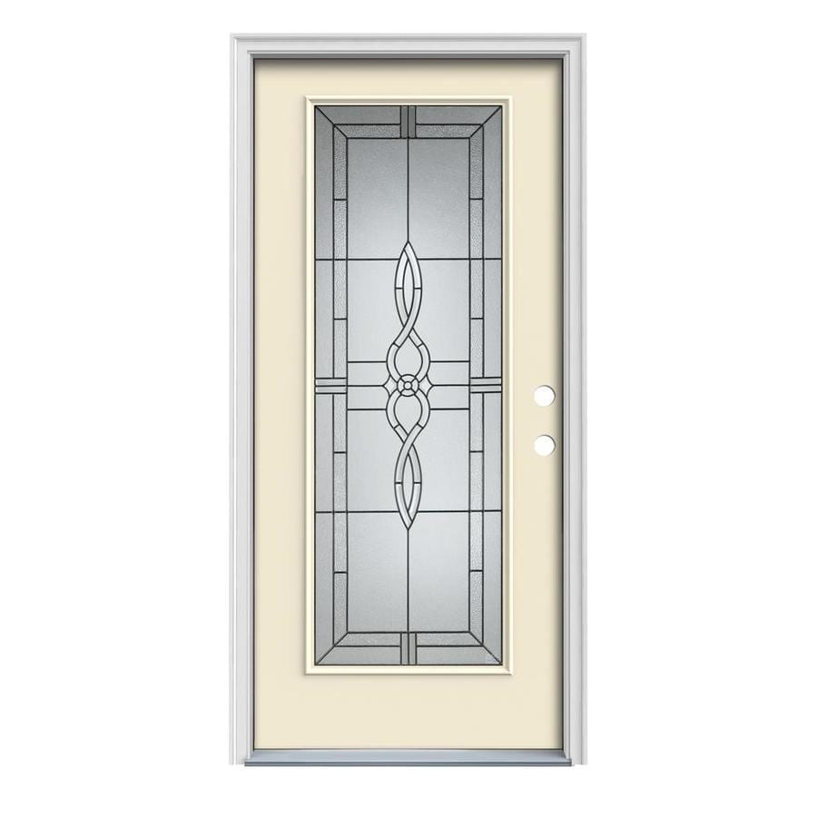 JELD-WEN Calista Decorative Glass Left-Hand Inswing Bisque Painted Steel Prehung Entry Door with Insulating Core (Common: 32-in x 80-in; Actual: 33.5000-in x 81.7500-in)