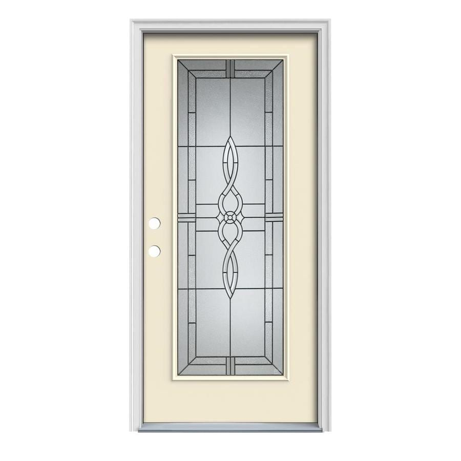 JELD-WEN Calista 1-Panel Insulating Core Full Lite Right-Hand Inswing Bisque Steel Painted Prehung Entry Door (Common: 32-in x 80-in; Actual: 33.5-in x 81.75-in)