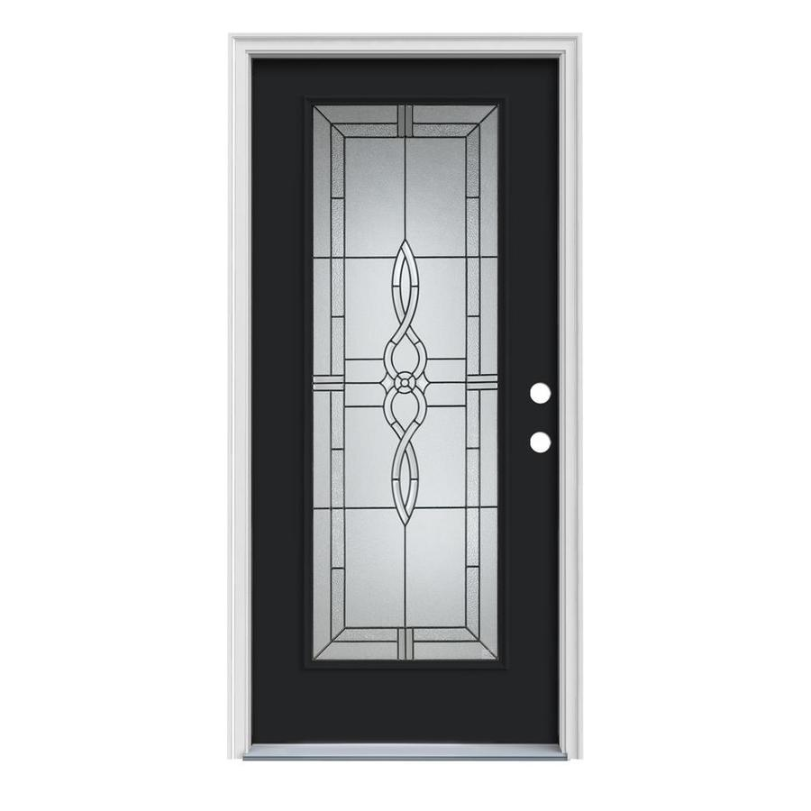 JELD-WEN Calista 1-Panel Insulating Core Full Lite Left-Hand Inswing Peppercorn Steel Painted Prehung Entry Door (Common: 32-in x 80-in; Actual: 33.5-in x 81.75-in)