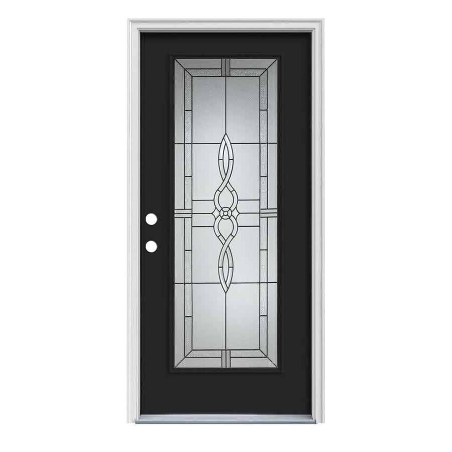Captivating JELD WEN Calista Decorative Glass Right Hand Inswing Peppercorn Painted  Steel Prehung Entry Door