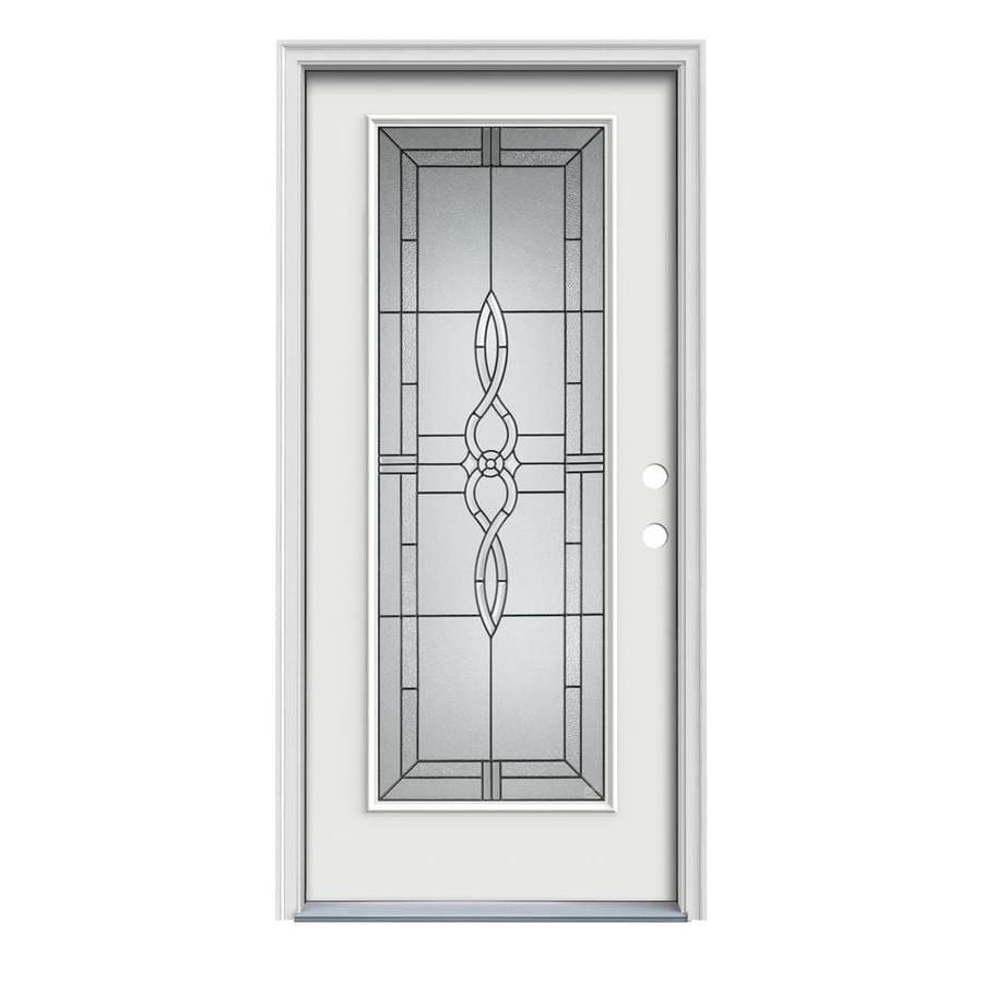 JELD-WEN Calista 1-Panel Insulating Core Full Lite Left-Hand Inswing Arctic White Steel Painted Prehung Entry Door (Common: 36-in x 80-in; Actual: 37.5-in x 81.75-in)