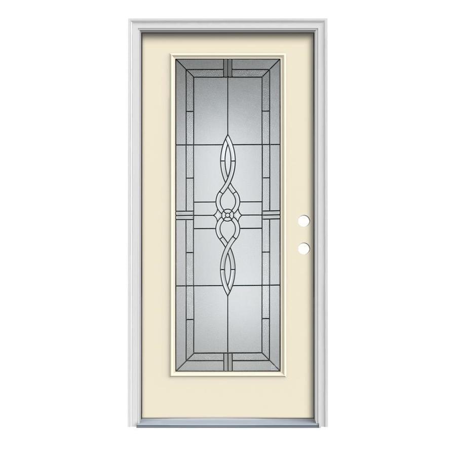 JELD-WEN Calista 1-Panel Insulating Core Full Lite Left-Hand Inswing Bisque Steel Painted Prehung Entry Door (Common: 36-in x 80-in; Actual: 37.5-in x 81.75-in)