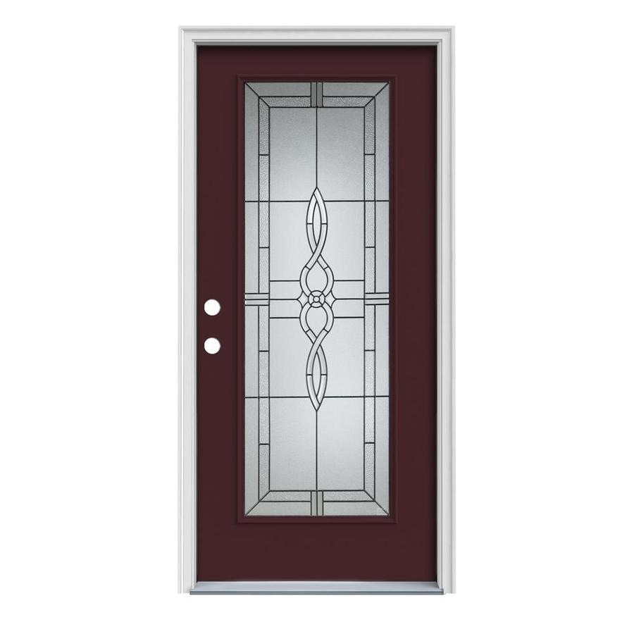 JELD-WEN Calista Decorative Glass Right-Hand Inswing Currant Painted Steel Prehung Entry Door with Insulating Core (Common: 36-in x 80-in; Actual: 37.5000-in x 81.7500-in)